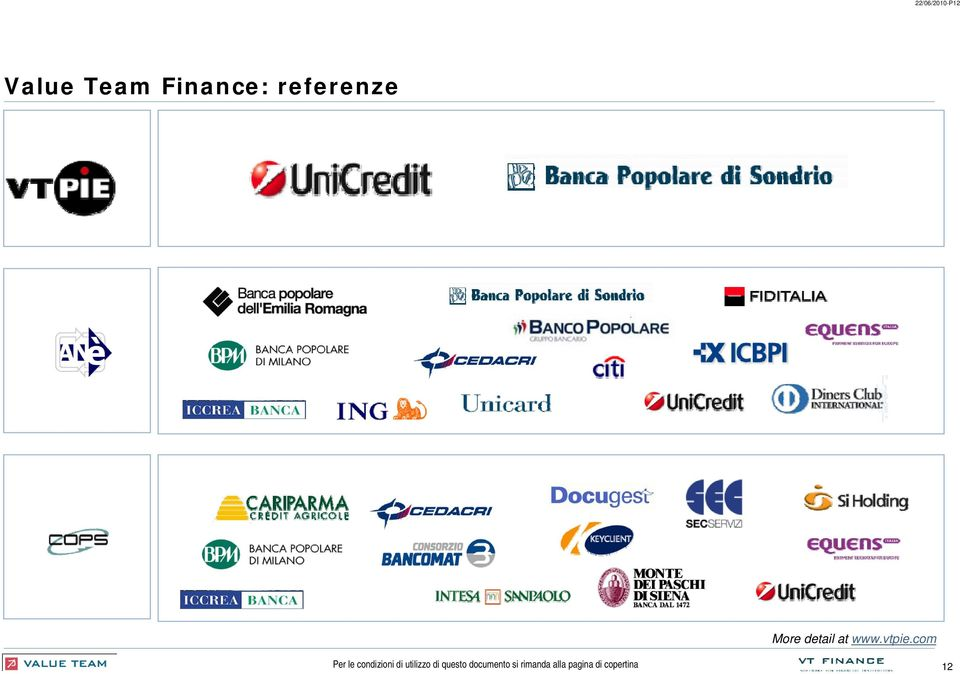 Finance: referenze