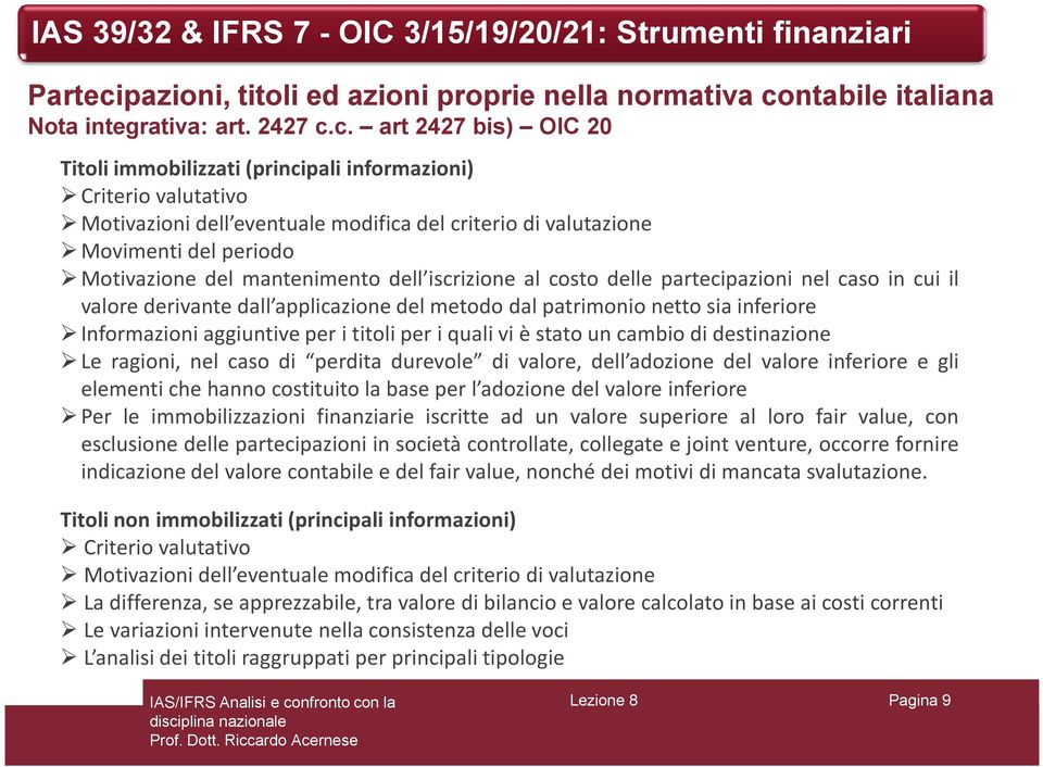 ntabile italiana Nota integrativa: art. 2427 c.
