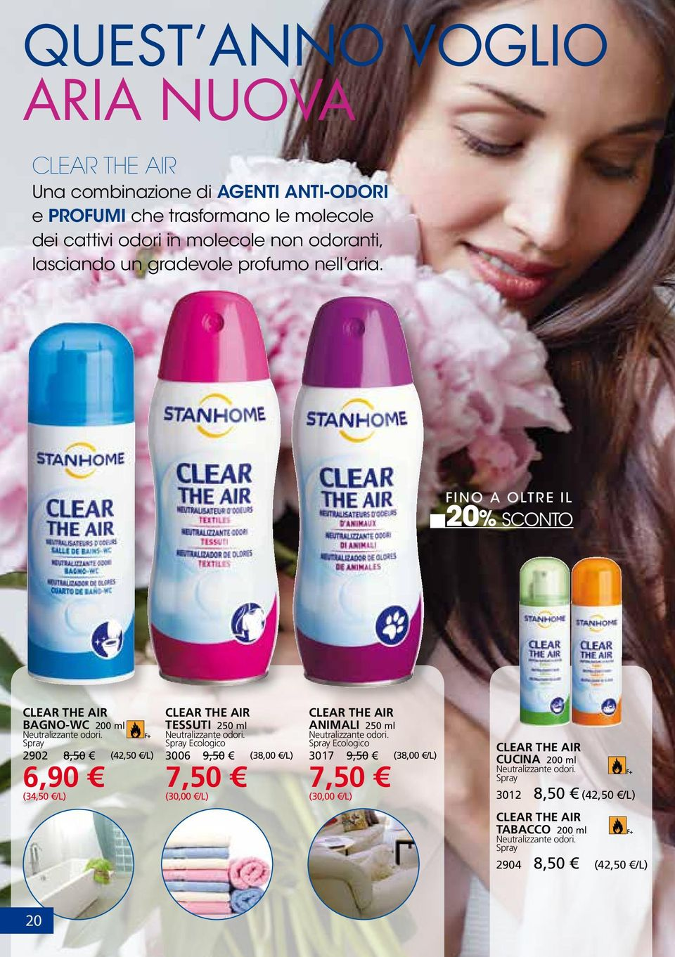 Spray 2902 8,50 (42,50 /L) 6,90 (34,50 /L) Clear The Air TESSUTI 250 ml Neutralizzante odori.