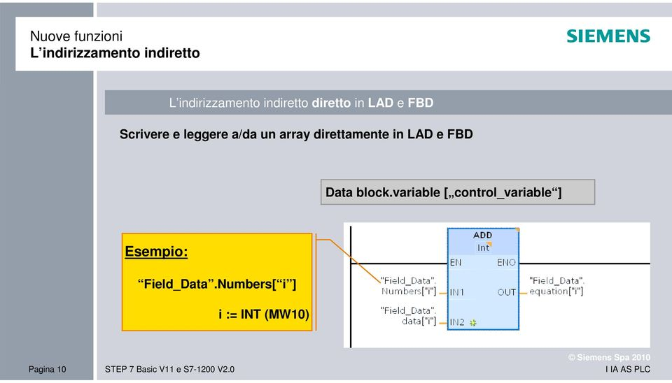 FBD Data block.variable [ control_variable ] Esempio: Field_Data.
