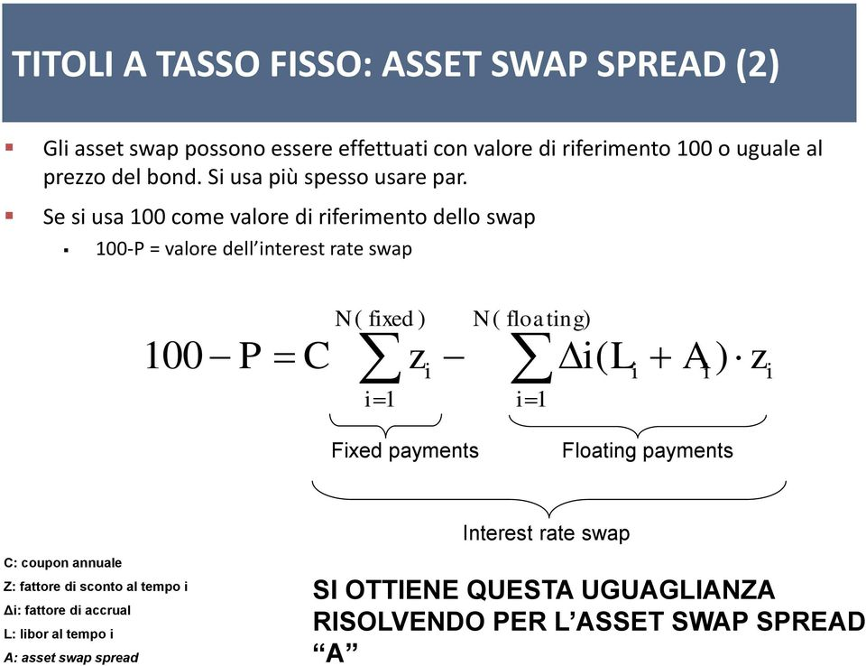 Se si usa 100 come valore di riferimento dello swap 100-P = valore dell interest rate swap 100 P C N ( fixed ) i 1 z i N ( floating) i 1 i(