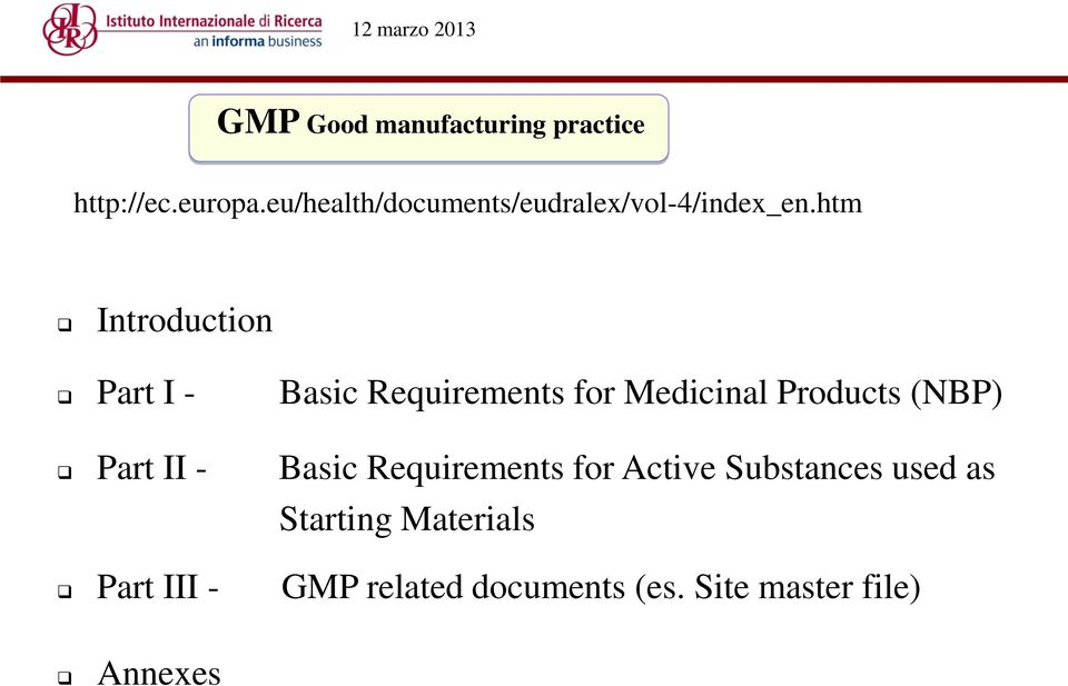 htm Introduction Part I - Basic Requirements for Medicinal Products (NBP)
