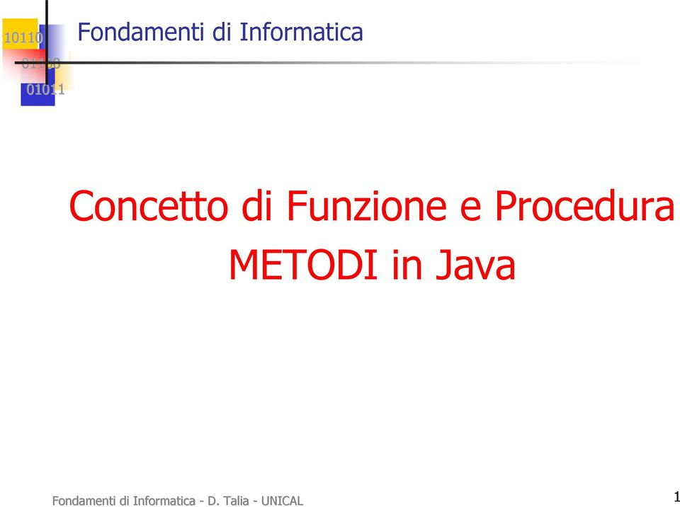 Procedura METODI in Java  - D.