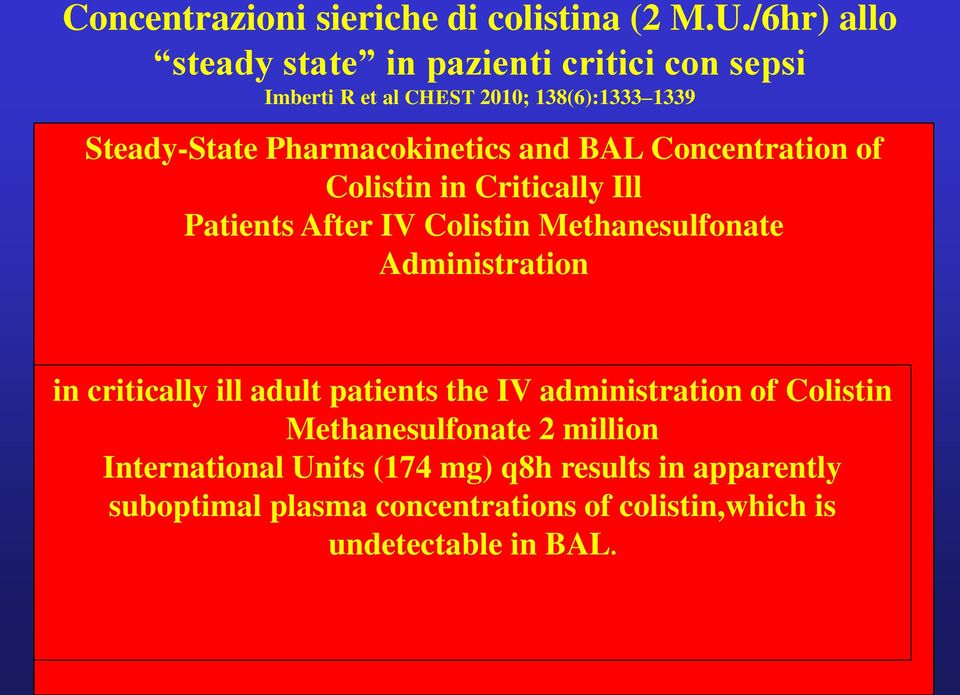 Pharmacokinetics and BAL Concentration of Colistin in Critically Ill Patients After IV Colistin Methanesulfonate