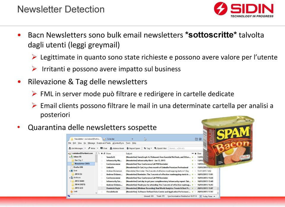 business Rilevazione & Tag delle newsletters FML in server mode può filtrare e redirigere in cartelle dedicate Email