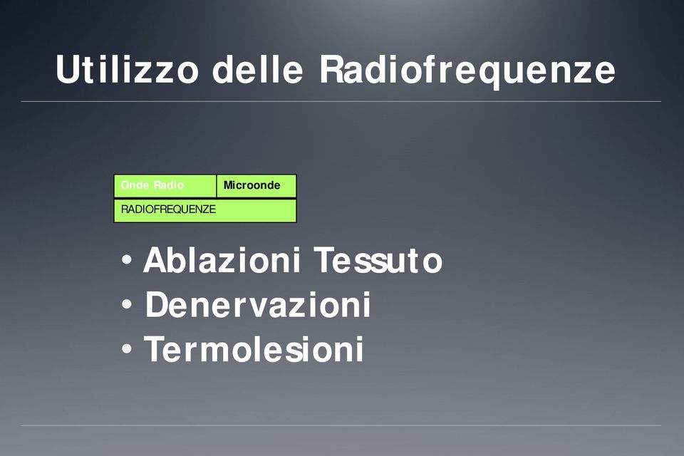 Microonde RADIOFREQUENZE