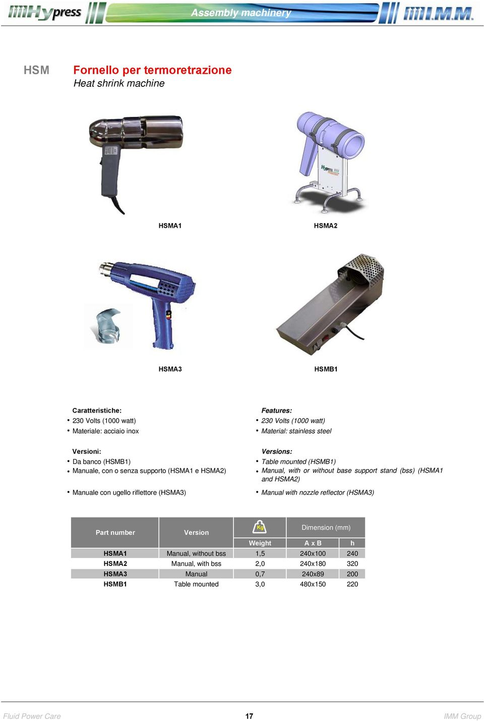 support stand (bss) (HSMA1 and HSMA2) Manuale con ugello riflettore (HSMA3) Manual with nozzle reflector (HSMA3) Part number Version Kg Dimension (mm)