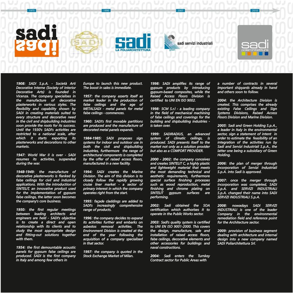 The flexibility and capability shown by SADI in creating materials suited to every structure and decorative need in the civil and shipbuilding industries soon provide the roots for its success.