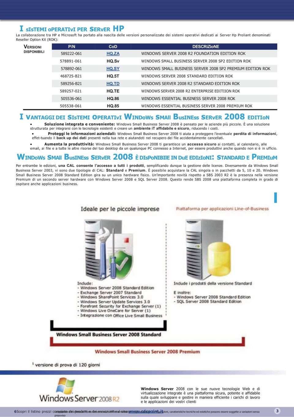 Sv WINDOWS SMALL BUSINESS SERVER 2008 SP2 EDITION ROK 578892-061 HQ.SY WINDOWS SMALL BUSINESS SERVER 2008 SP2 PREMIUM EDITION ROK 468725-B21 HQ.