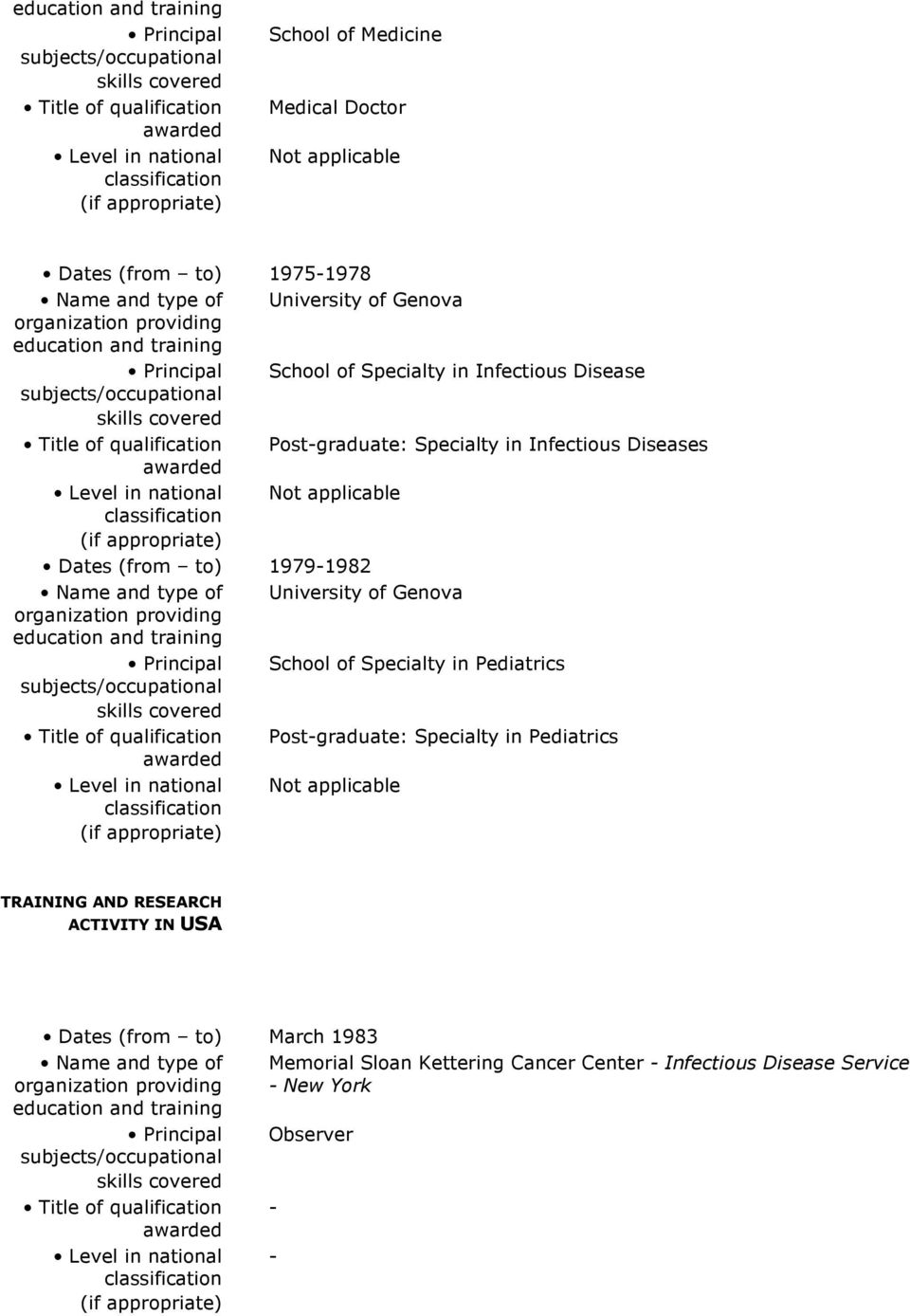 Title of qualification Post-graduate: Specialty in Infectious Diseases awarded Level in national Not applicable classification (if appropriate) Dates (from to) 1979-1982 Name and type of University