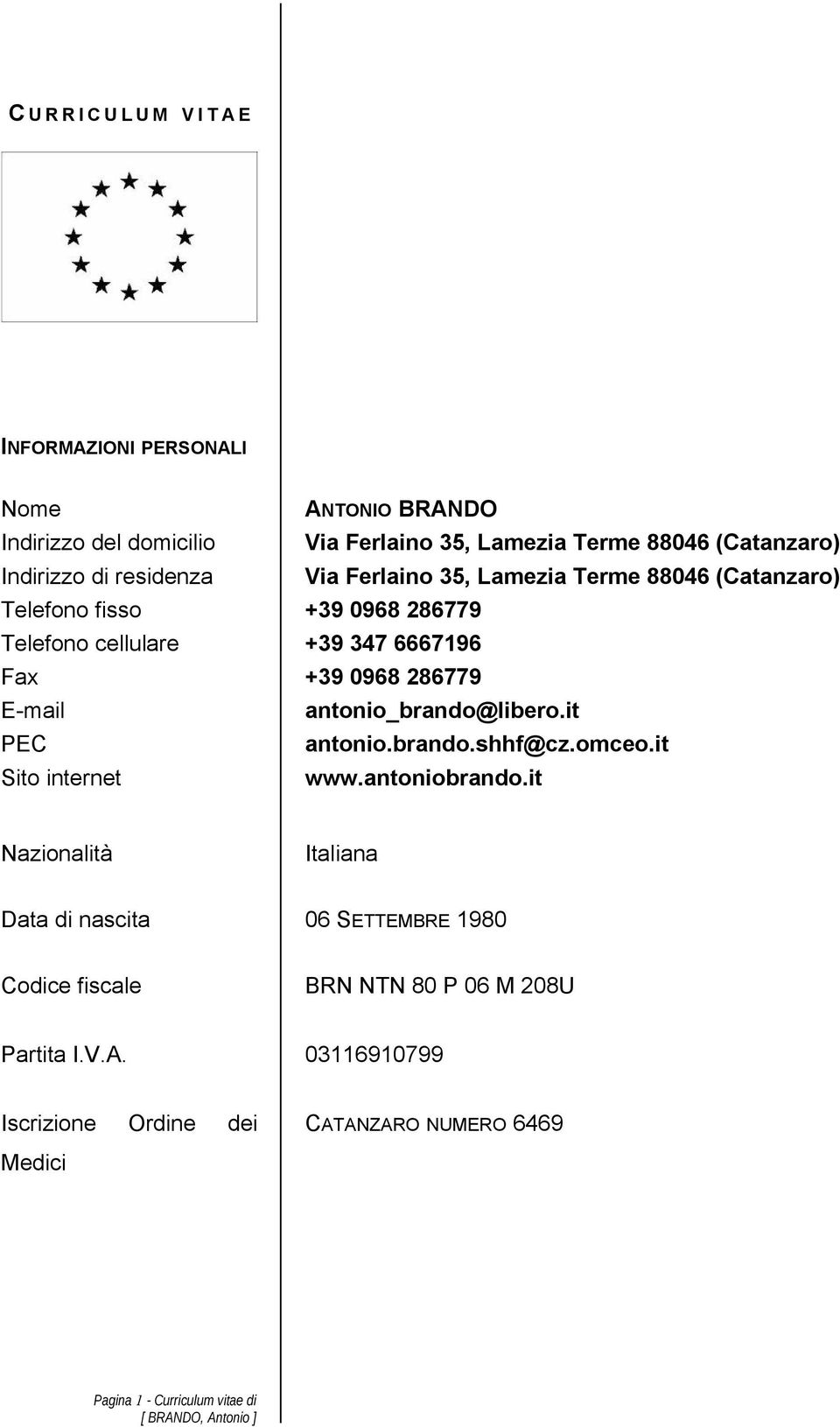 286779 E-mail antonio_brando@libero.it PEC antonio.brando.shhf@cz.omceo.it Sito internet www.antoniobrando.
