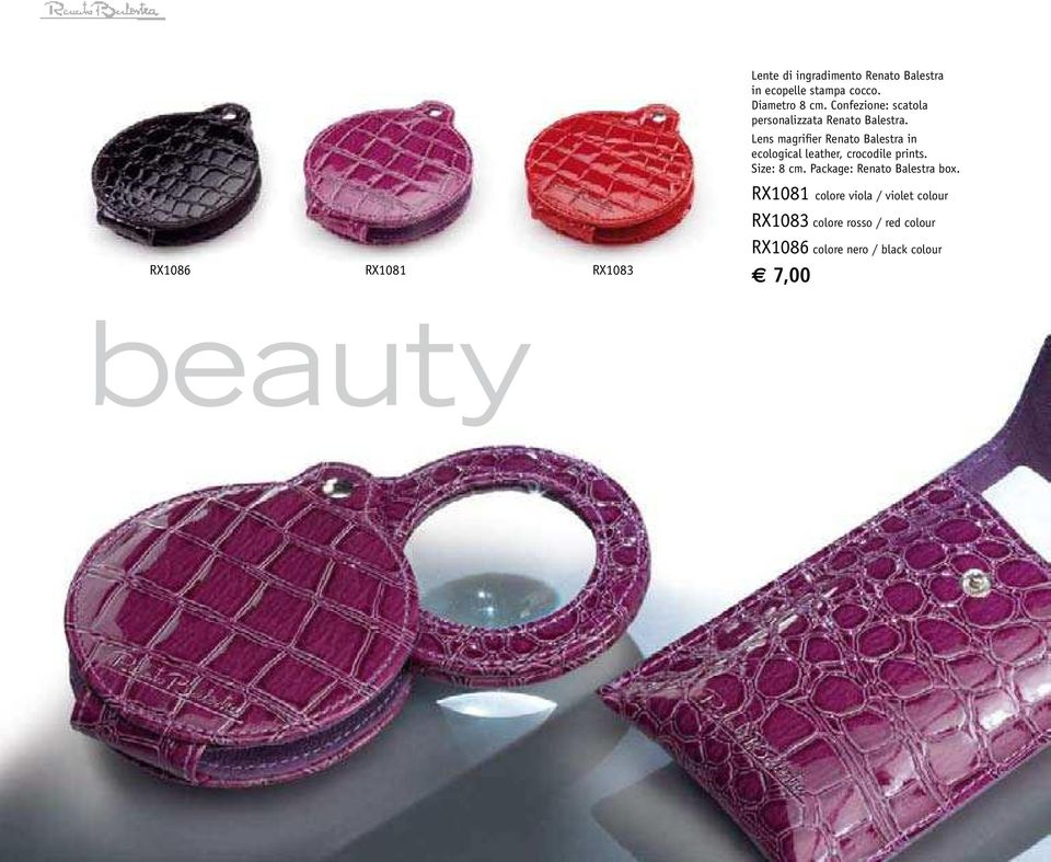 Lens magrifier Renato Balestra in ecological leather, crocodile prints. Size: 8 cm.