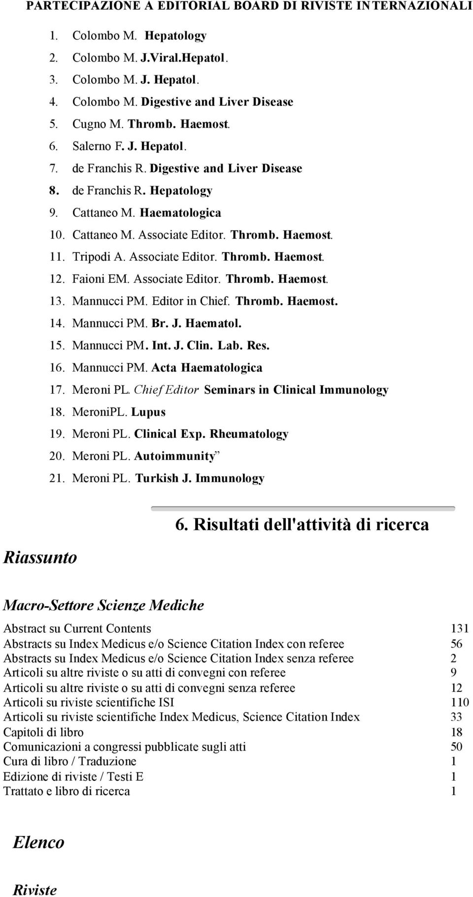 Tripodi A. Associate Editor. Thromb. Haemost. 12. Faioni EM. Associate Editor. Thromb. Haemost. 13. Mannucci PM. Editor in Chief. Thromb. Haemost. 14. Mannucci PM. Br. J. Haematol. 15. Mannucci PM. Int.