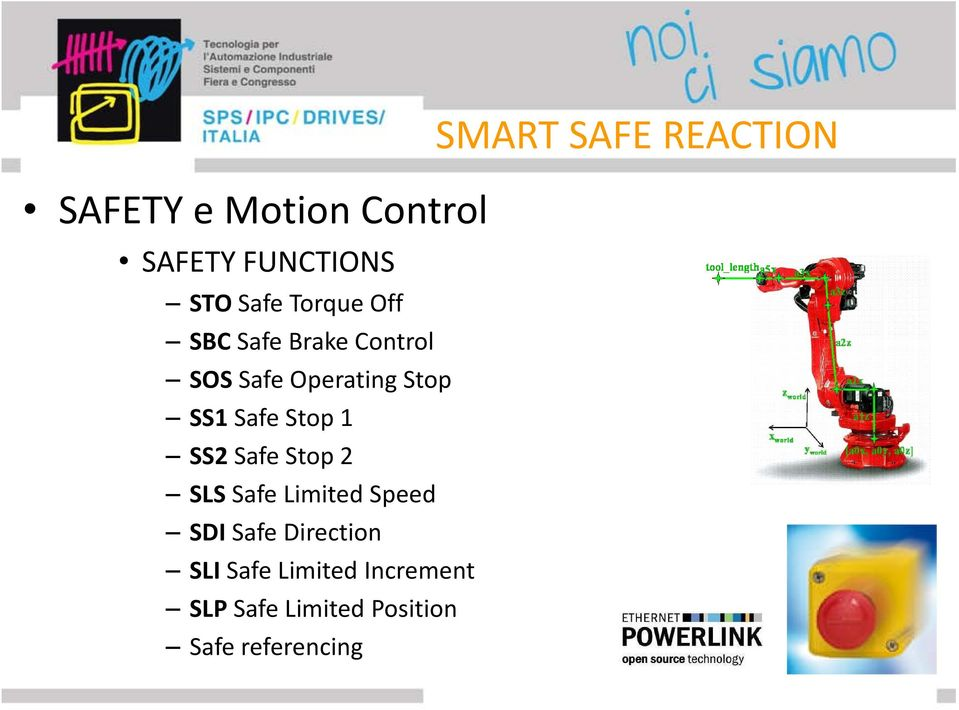 Safe Stop 1 SS2 Safe Stop 2 SLS Safe Limited Speed SDI Safe