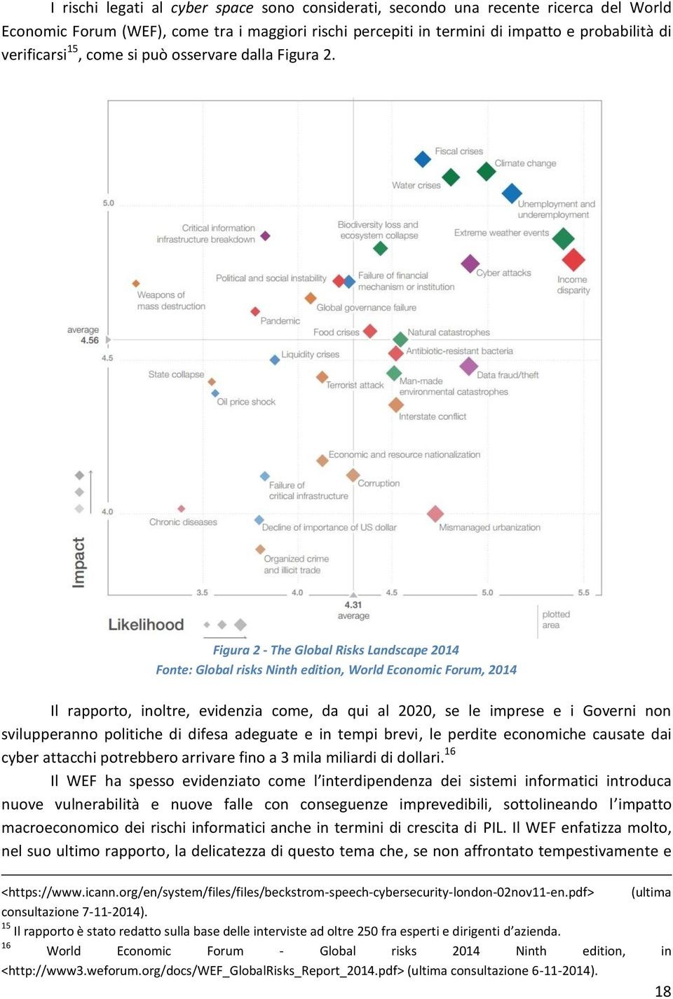 Figura 2 - The Global Risks Landscape 2014 Fonte: Global risks Ninth edition, World Economic Forum, 2014 Il rapporto, inoltre, evidenzia come, da qui al 2020, se le imprese e i Governi non