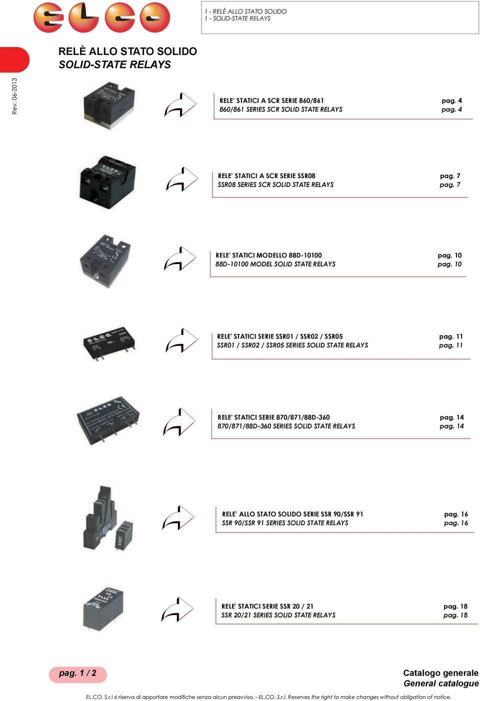 11 SSR01 / SSR02 / SSR05 SERIES SOLID STATE RELAYS pag. 11 RELE' STATICI SERIE 870/871/88D-360 pag. 14 870/871/88D-360 SERIES SOLID STATE RELAYS pag.