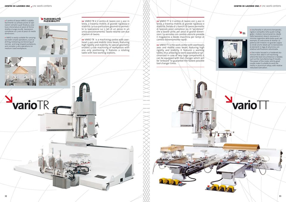 > VARIO is easily suitable for carrying out both simple operations, such as drilling, hollowing and tenoning of narrow- and long-shaped workpieces, and complex 5-axis operations on medium-sized