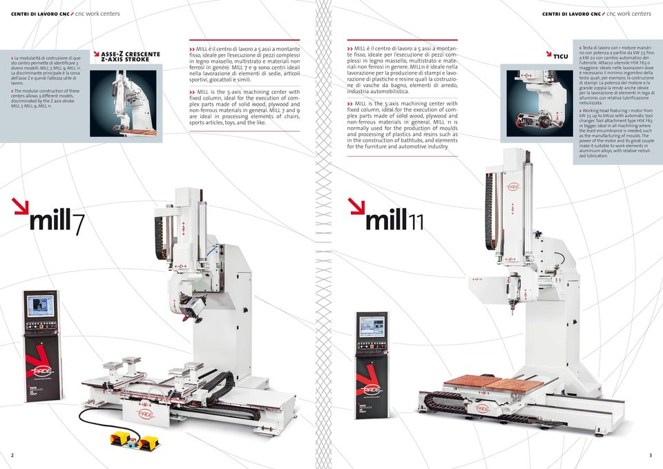 > The modular construction of these centers allows 3 different models, discriminated by the Z axis stroke: MILL 7, MILL 9, MILL 11.