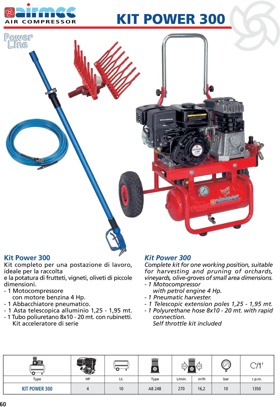 Kit acceleratore di serie Kit Power 300 Complete kit for one working position, suitable for harvesting and pruning of orchards, vineyards, olive-groves of small area dimensions.