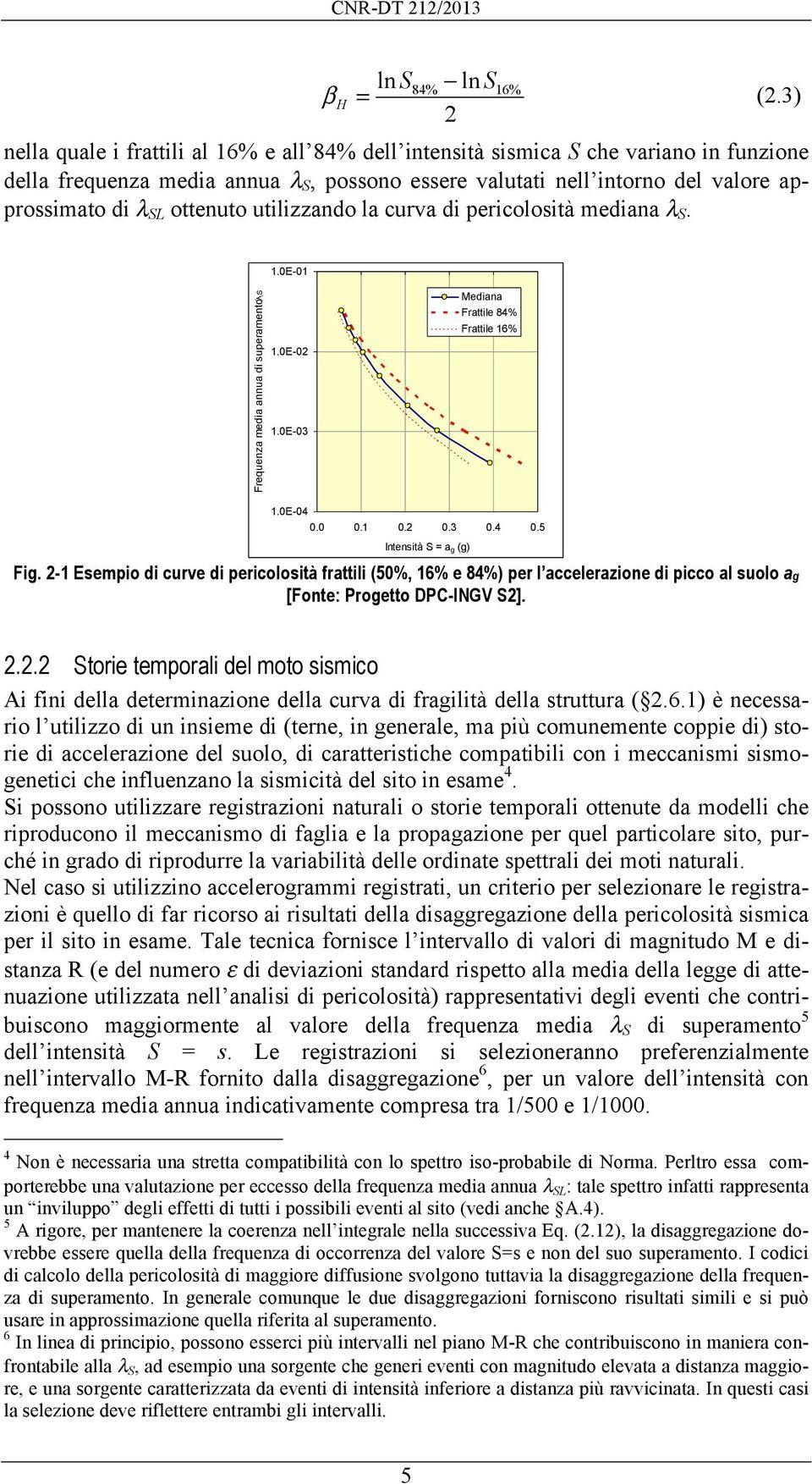 ottenuto utilizzando la curva di pericolosità mediana λ S. 1.E-1 Frequenza media annua di superamento S 1.E-2 1.E-3 Mediana Frattile 84% Frattile 16% 1.E-4..1.2.3.4.5 Intensità S = a g (g) Fig.
