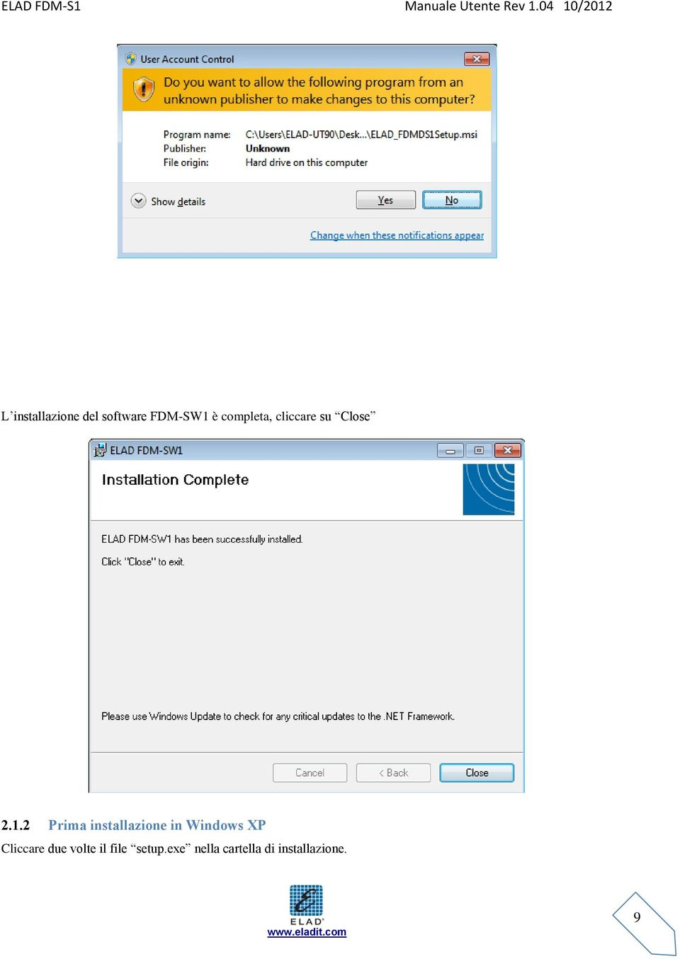 2 Prima installazione in Windows XP Cliccare