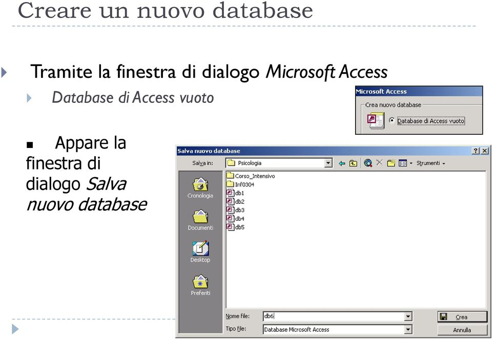 Database di Access vuoto Appare la