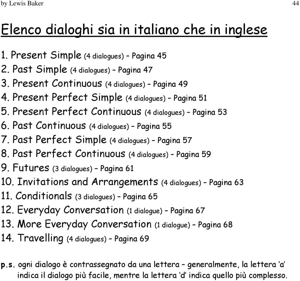 Past Perfect Continuous (4 dialogues) Pagina 59 9. Futures (3 dialogues) Pagina 61 10. Invitations and Arrangements (4 dialogues) Pagina 63 11. Conditionals (3 dialogues) Pagina 65 12.