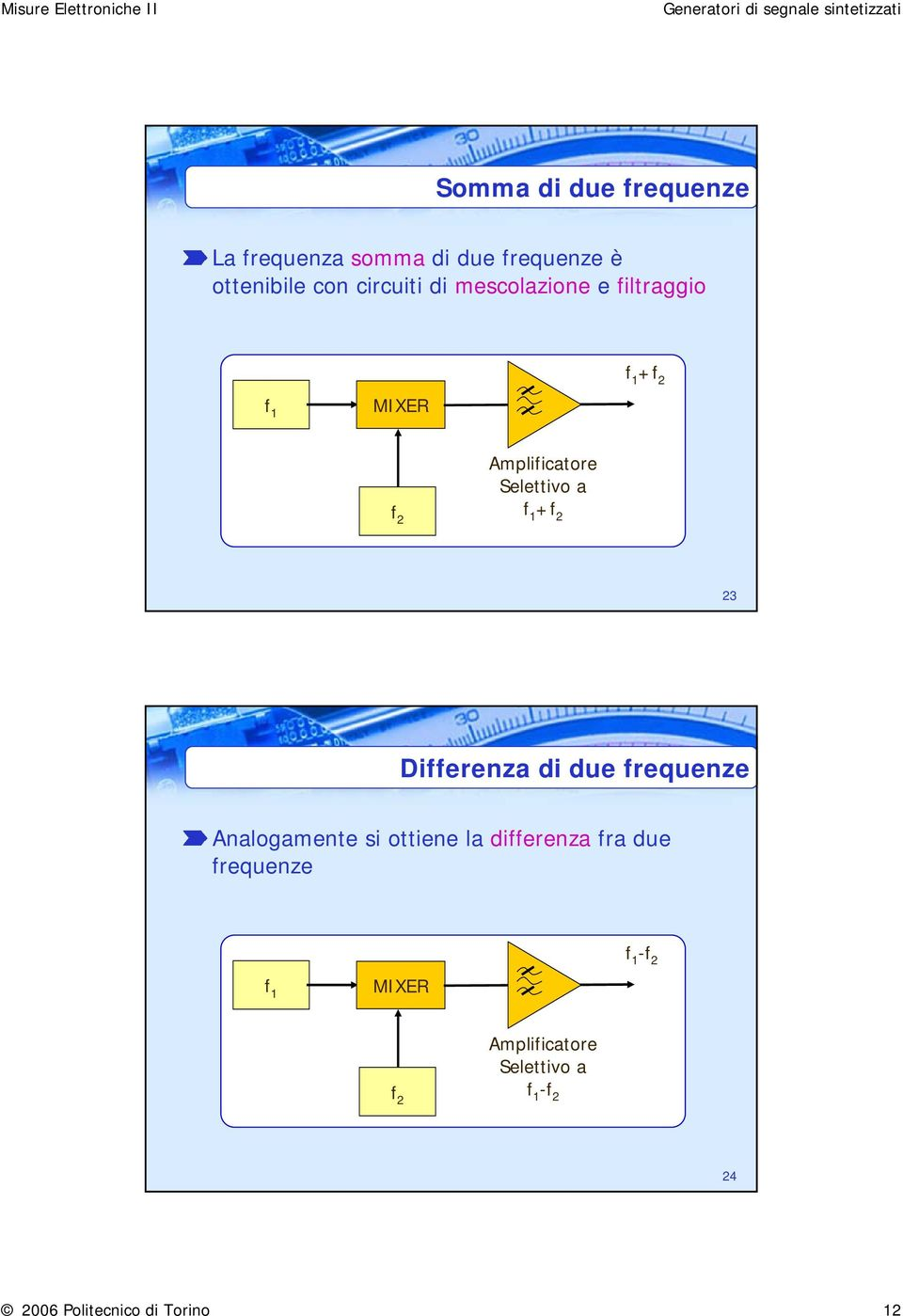 2 Differenza di due frequenze Analogamente si ottiene la differenza fra due frequenze