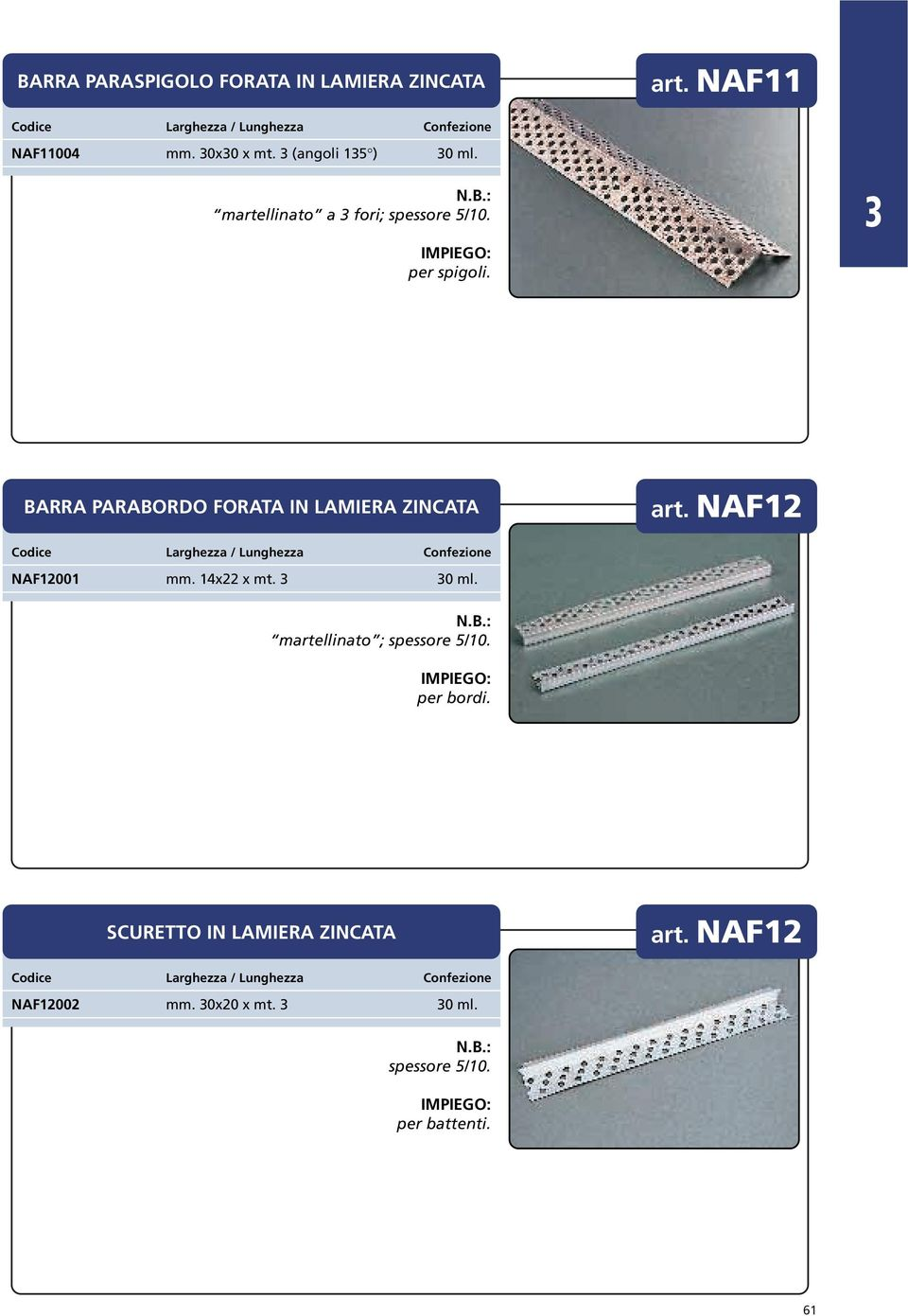BARRA PARABORDO FORATA IN LAMIERA ZINCATA art. NAF12 NAF12001 mm. 14x22 x mt. 0 ml.