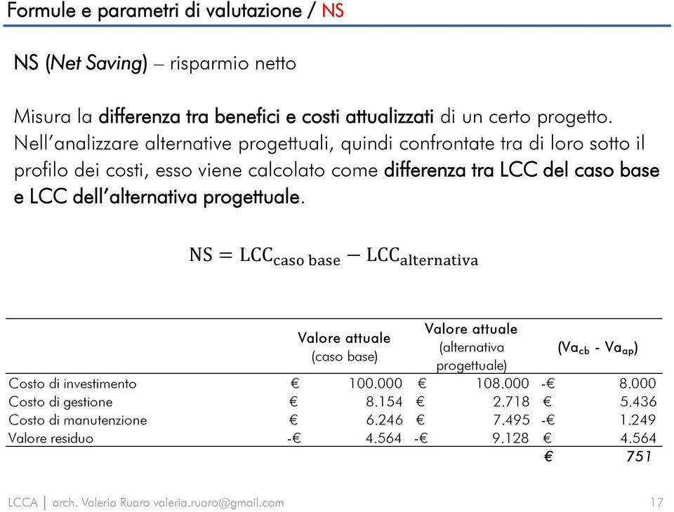 base e LCC dell alternativa progettuale.