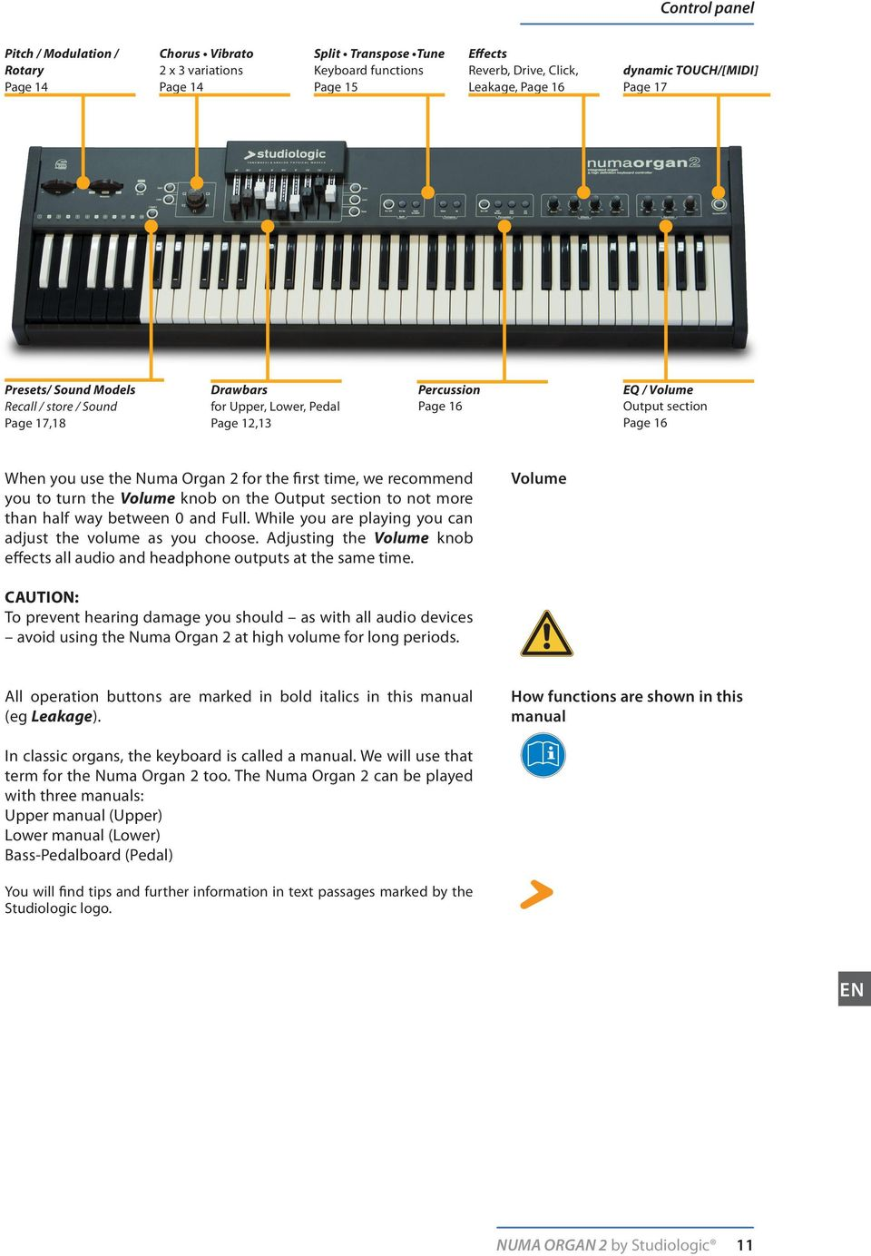 Organ 2 for the first time, we recommend you to turn the Volume knob on the Output section to not more than half way between 0 and Full. While you are playing you can adjust the volume as you choose.