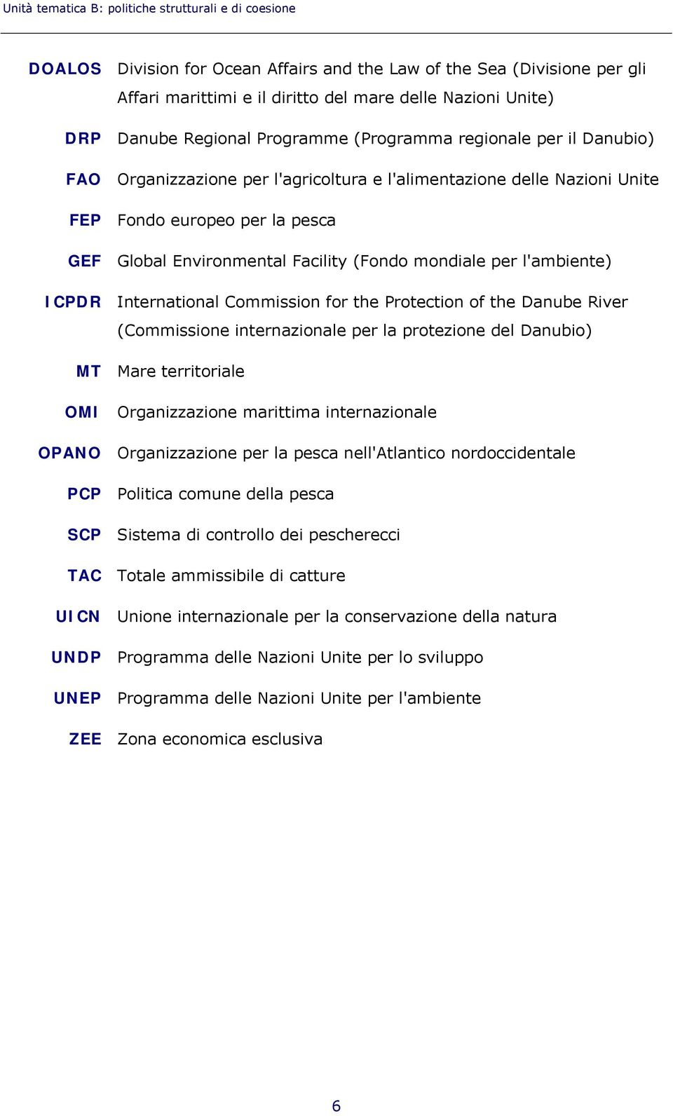 Facility (Fondo mondiale per l'ambiente) ICPDR International Commission for the Protection of the Danube River (Commissione internazionale per la protezione del Danubio) MT Mare territoriale OMI