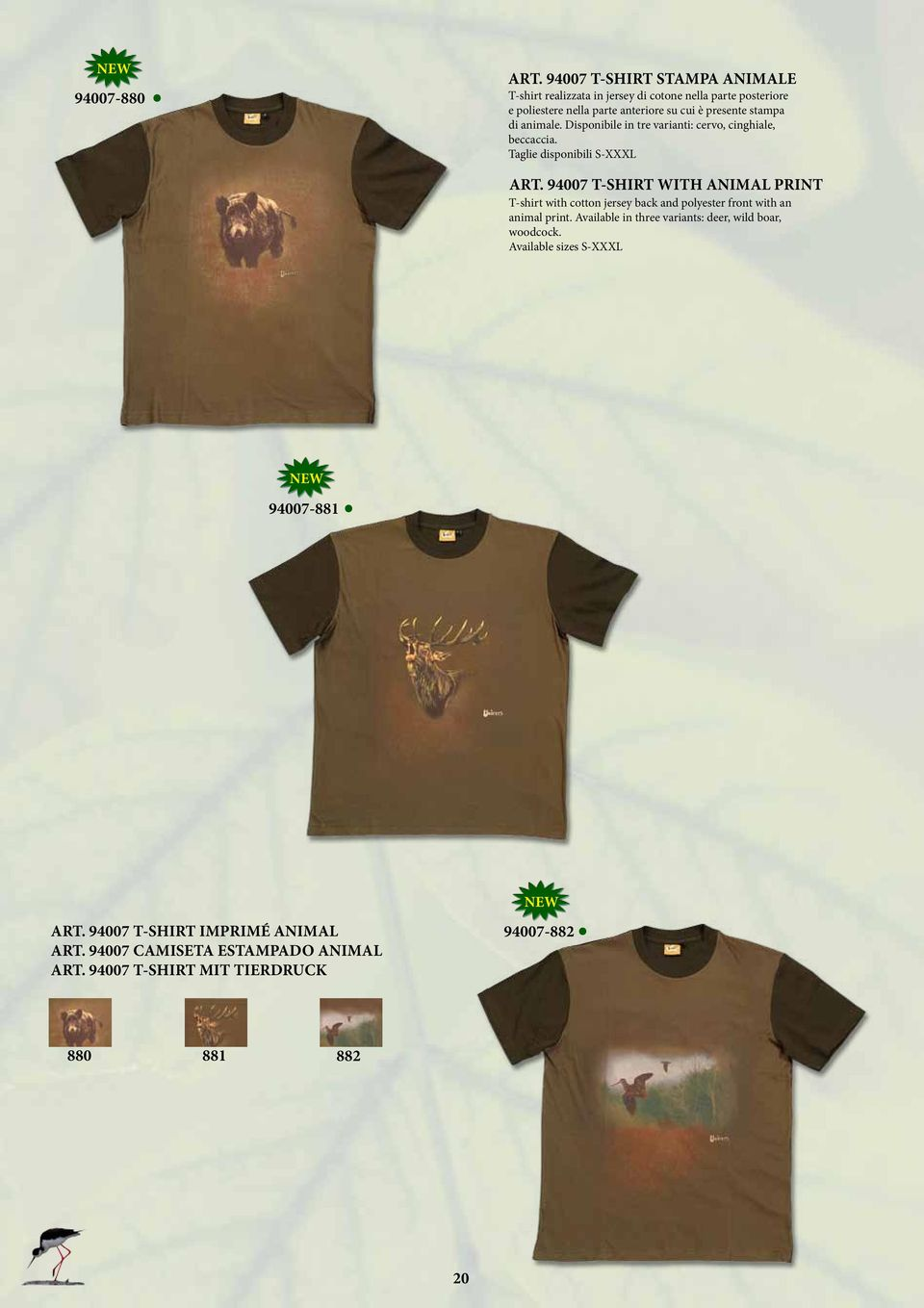 PRINT T-shirt with cotton jersey back and polyester front with an animal print Available in three variants: deer, wild boar, woodcock Available