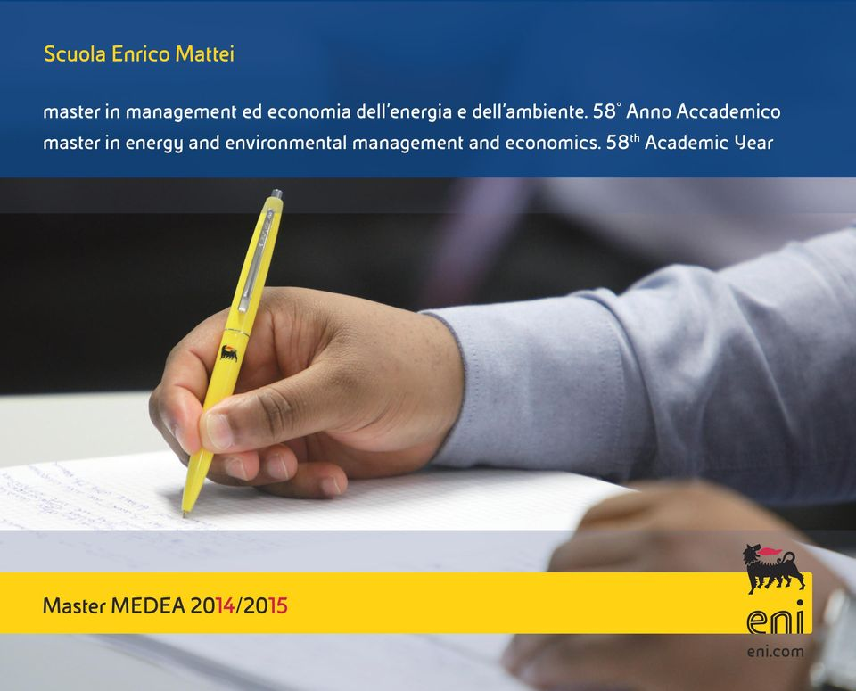 58 Anno Accademico master in energy and