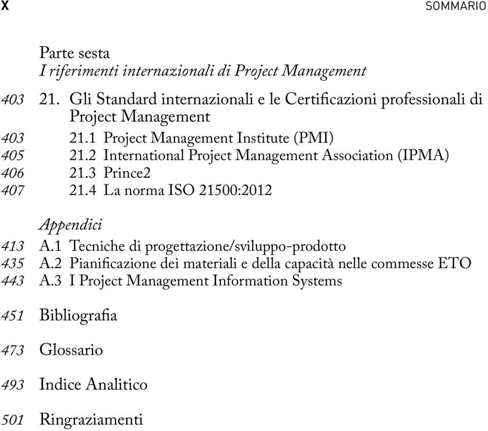 2 International Project Management Association (IPMA) 406 21.3 Prince2 407 21.4 La norma ISO 21500:2012 Appendici 413 A.