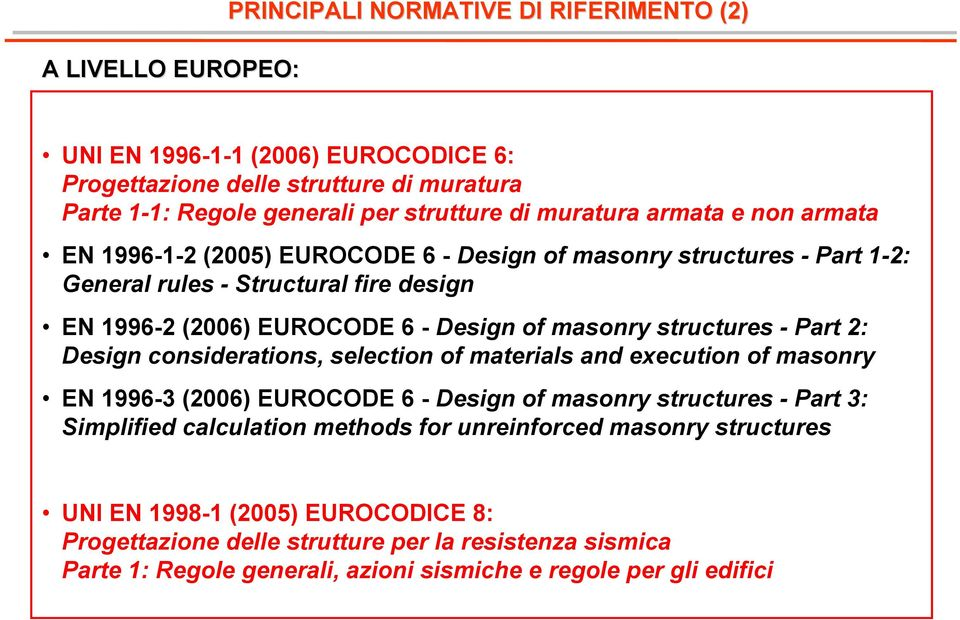 structures - Part 2: Design considerations, selection of materials and execution of masonry EN 1996-3 (2006) EUROCODE 6 - Design of masonry structures - Part 3: Simplified calculation