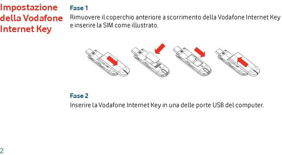 Internet Key e inserire la SIM come illustrato.