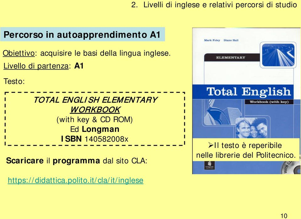 Livello di partenza: A1 Testo: TOTAL ENGLISH ELEMENTARY WORKBOOK (with key & CD ROM) Ed Longman