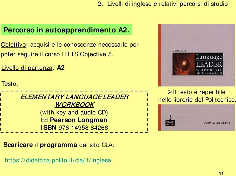 Livello di partenza: A2 Testo: ELEMENTARY LANGUAGE LEADER WORKBOOK (with key and audio CD) Ed Pearson Longman