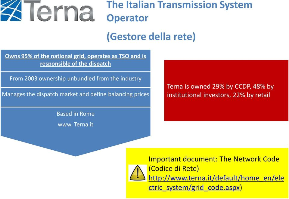 balancing prices Terna is owned 29% by CCDP, 48% by institutional investors, 22% by retail Based in Rome www. Terna.it Important document: The Network Code (Codice di Rete) http://www.