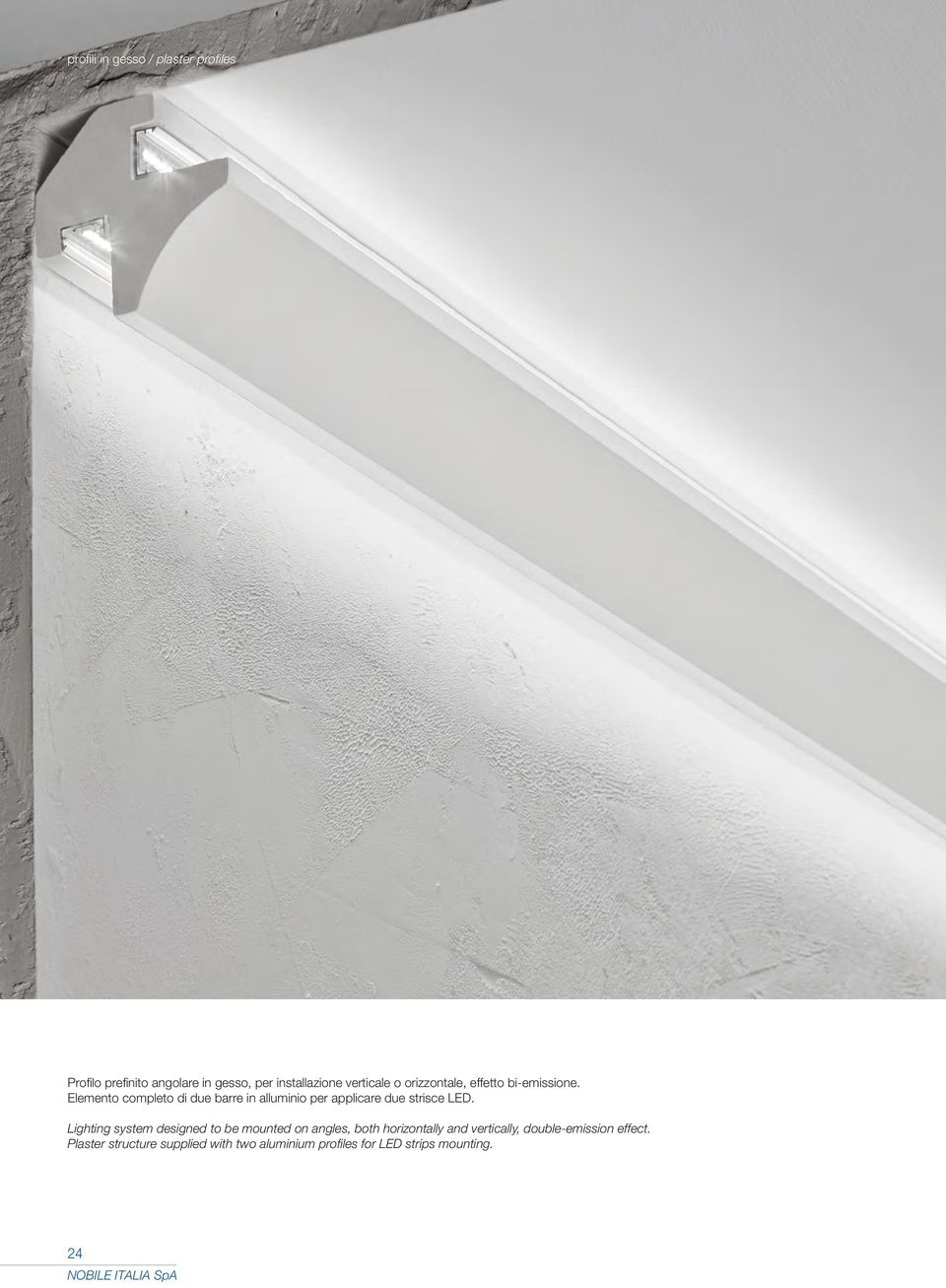 Lighting system designed to be mounted on angles, both horizontally and vertically,