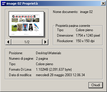 Document Manager Menu File Proprietà Consente di visualizzare le proprietà del file.