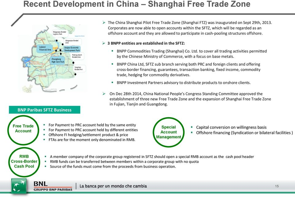 3 BNPP entities are established in the SFTZ: BNPP Commodities Trading (Shanghai) Co. Ltd. to cover all trading activities permitted by the Chinese Ministry of Commerce, with a focus on base metals.
