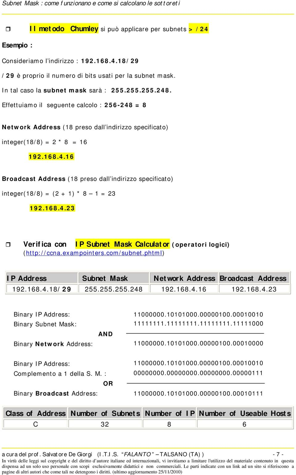 168.4.23 Verifica con IP Subnet Mask Calculator (operatori logici) (http://ccna.exampointers.com/subnet.phtml) IP Address Subnet Mask Network Address Broadcast Address 192.168.4.18/29 255.255.255.248 192.