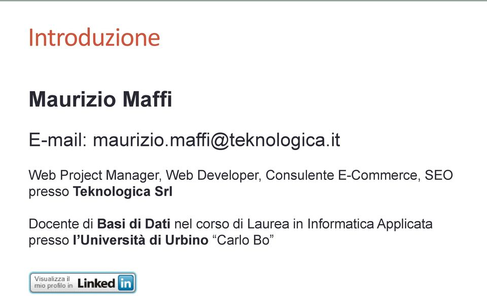 it Web Project Manager, Web Developer, Consulente