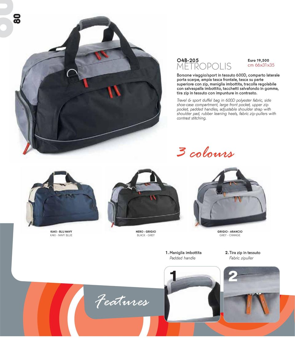 Travel & sport duffel bag in 6D polyester fabric, side shoe-case compartment, large front pocket, upper zip pocket, padded handles, adjustable shoulder strap with shoulder pad, rubber