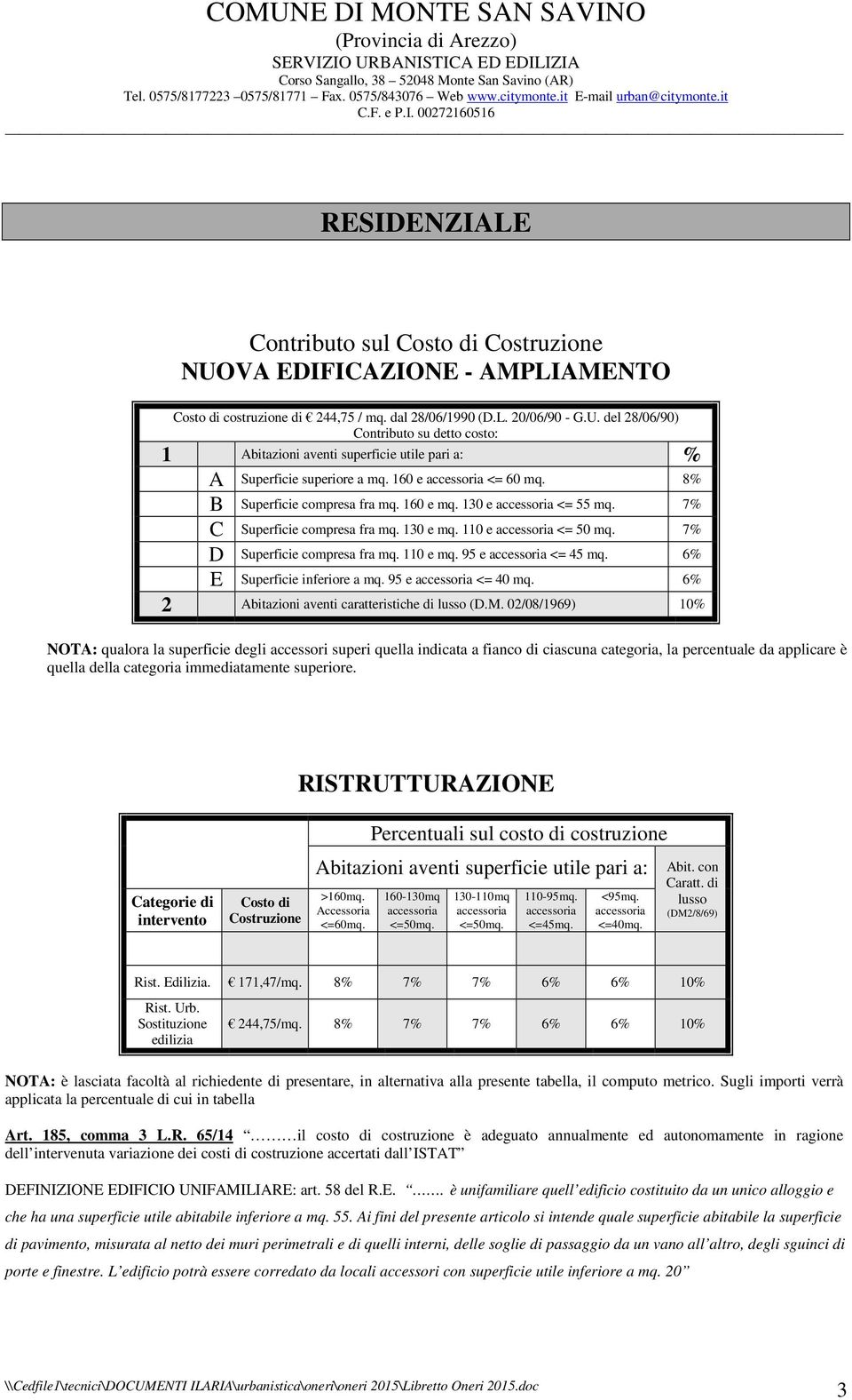 110 e mq. 95 e accessoria <= 45 mq. 6% Superficie inferiore a mq. 95 e accessoria <= 40 mq. 6% 2 Abitazioni aventi caratteristiche di lusso (D.M.