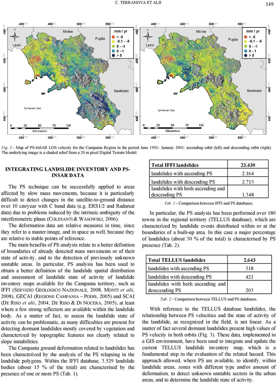 INTEGRATING LANDSLIDE INVENTORY AND PSINSAR DATA The PS technique can be successfully applied to areas affected by slow mass movements, because it is particularly difficult to detect changes in the