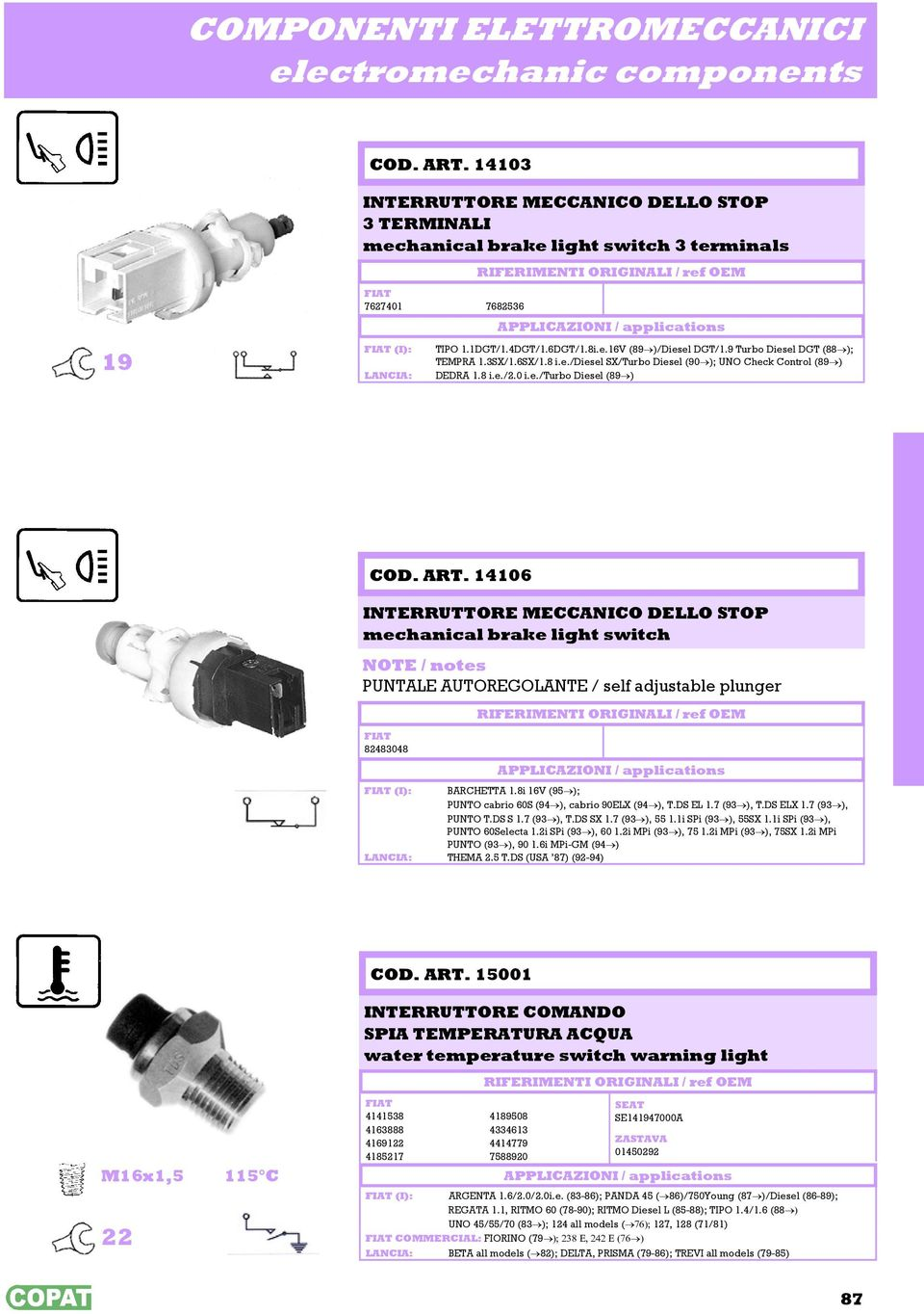 ART. 14106 INTERRUTTORE MECCANICO DELLO STOP mechanical brake light switch NOTE / notes PUNTALE AUTOREGOLANTE / self adjustable plunger 82483048 (I): BARCHETTA 1.