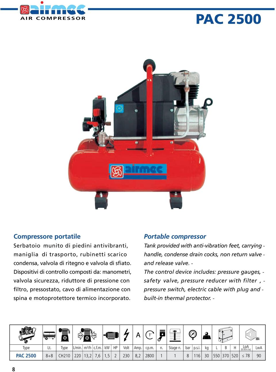Portable compressor Tank provided with anti-vibration feet, carryinghandle, condense drain cocks, non return valveand release valve.